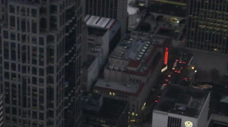 Panning aerial perspective of downtown Seattle from low-flying airplane