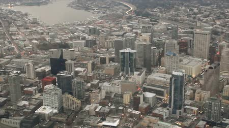 Panning aerial view of buildings in Belltown - north end of downtown Seattle 影像素材