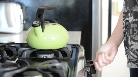 домохозяйка : Person places tea kettle on stove, close up