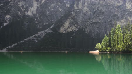 Canoes on the lake: Amazing landscape with kayak at lake Pragser Wildsee Dostupné videozáznamy