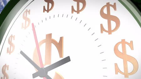 Time is money. Wall clock marking the dollar sign in different positions. With sound