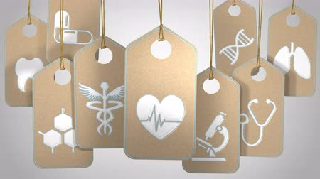 Medical and healthcare concept. Tags with symbols and icons about hospital and doctor