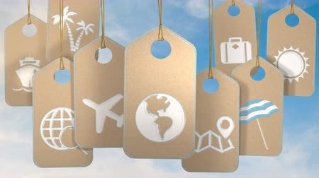 Travel and holidays concept. Tags with symbols and icons over blue sky. Loopable