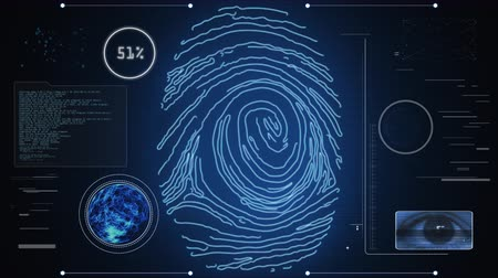 reconhecimento : Identity scan: access permitted. Futuristic fingerprint and iris recognition