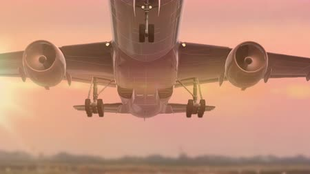 turbine : Plane taking off. An airplane leaves the runway Stock Footage