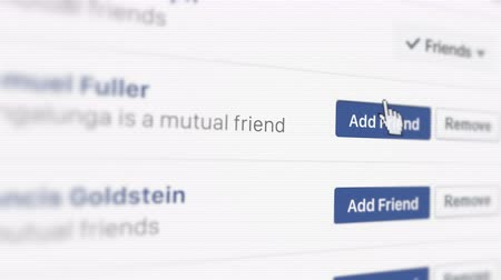 Facebook Friend Request. Adding friend on a social network Dostupné videozáznamy