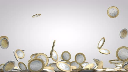 richness : Money Falling. Lots Of Coins Falling Down With White Background