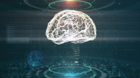 impressão digital : AI Brain Rotating. Artificial Intelligence Concept With Brain Being Scanned While Data And Nodes Are Flying Around Stock Footage