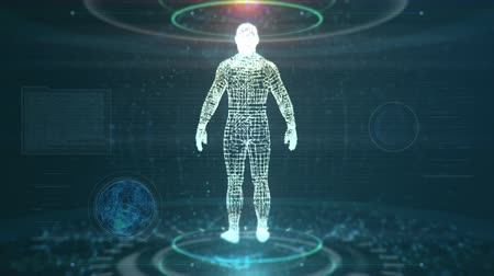 adat : Artificial Intelligence Concept With Futuristic Human Being Scanned While Data And Nodes Are Flying Around