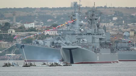 donanma : amphibious landing - fragment maritime parade in Sevastopol Russian Navy Day Stok Video