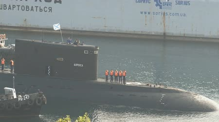 torpedo : submarine returns to base from the open sea to the bay Stock Footage
