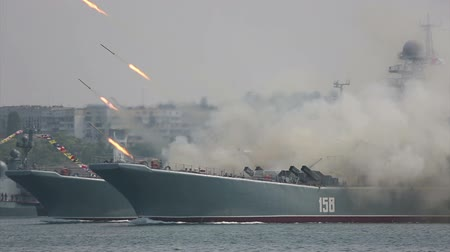salvo : missile attack military landing craft - Military-Navy parade Fleet Day of Russia - 31, July, 2016, Sevastopol, Crimea