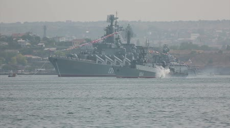torpedo : torpedo attack an enemy warship - Military-Navy parade Fleet Day of Russia - 31, July, 2016, Sevastopol, Crimea