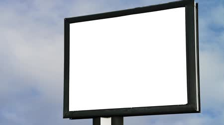 outdoor : Blank Billboard with empty screen over cloud timelapse