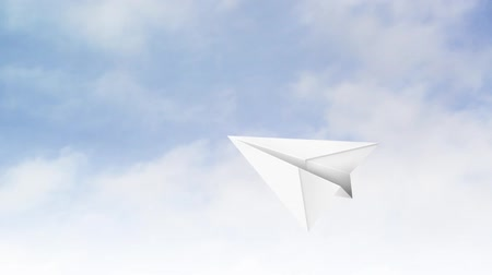 бумага : Paper Airplane Flying through the air, time lapse of clouds in background