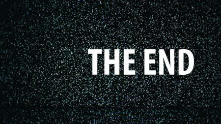 konec : The End title on TV noise background. Ending sequence. 1920x1080, 1080p, hd footage.