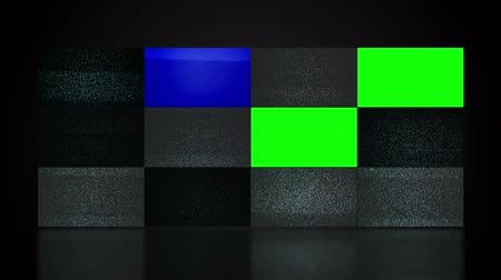 news tv : TV video wall with twelve television screen displaying noise and changing to green screen mate. 1920x1080 full hd footage.