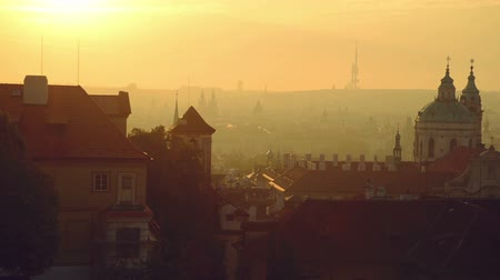 stare miasto : View of the Prague city, Czech republic, panorama in the early morning from the walls of Hradcany castle. 1920x1080 full hd footage.
