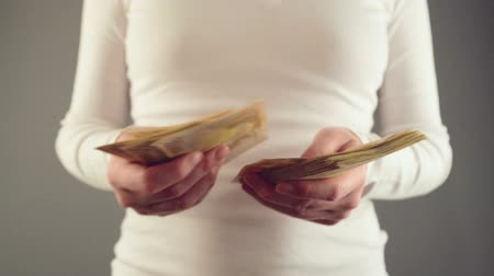 banknotlar : Woman counting fifty euro banknotes. Concept of salary and home finances. 1920x1080 full hd footage.