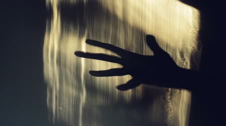 Spooky hand shadow crawling on the wall. 1920x1080 full hd footage. Stock Footage