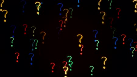 sorular : Colorful question mark blinking lights as abstract background.  Stok Video