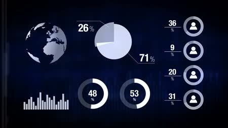 analiz : Various Animated Infographics Charts as Technology, Science, Data Analysis, Business, Finance or Economy illustrative background. 1920x1080 full hd footage. Stok Video
