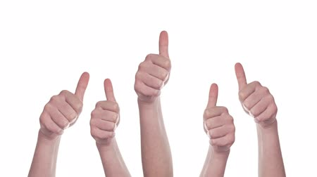 potvrzení : Group of Caucasian white People making Hand Thumbs Up sign as Like, Approval or Endorsement Concept, 1920x1080 steady full HD footage isolated on white background.