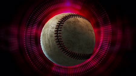 grafika : Rotating Baseball Ball as 3d Animated Sports Motion Graphics Background in full HD 1920x1080 progressive resolution.