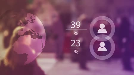 analyzovat : World Population Data Presentation Concept with Blur People Crowd and Animated Charts with Percentage Numbers, 1920x1080 full HD footage.
