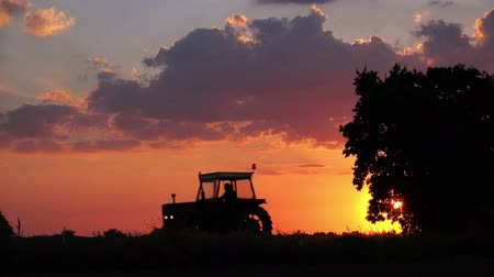 фермер : Agricultural Tractor with Unrecognizable Farmer Silhouette Driving in Idyllic Sunset Returning Home from Work in the Field.