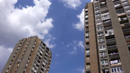 erkély : Residential Building Skyscrapers with Blue Summer Sky and White Clouds