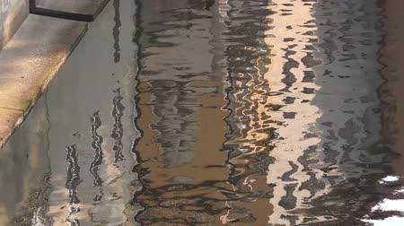 reflecties : Building gevel reflectie op de rivier Waterspiegel, Daylight Stockvideo