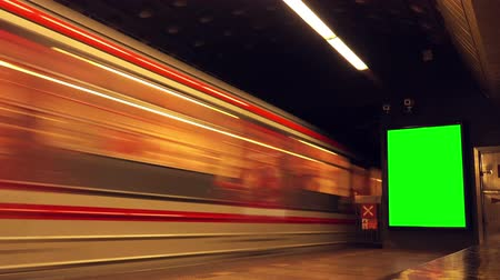 blank : Subway Train with Passengers Arriving to Underground Metro Station, Blank Advertising Poster with Green Screen Matte, Motion Blur Effect