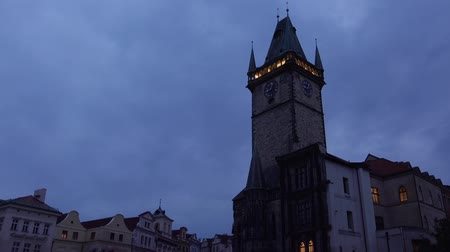 városháza : Night at Prague Old Town Square and Old Town Hall Tower with Clock