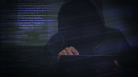 безопасность : Unrecognizable hooded cyber criminal using digital tablet computer to access deep web internet page, p2p, piracy or network security concept, 1920x1080, 1080p full hd footage