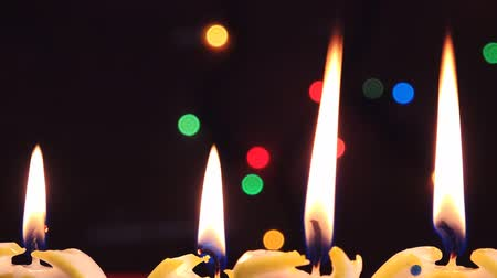 arife : Candle light, romantic background for New Year, Christmas, Birthday or other holiday celebration event Stok Video