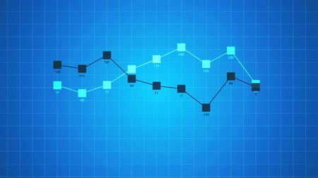 doğrusal : Business linear chart infographics abstract animation on blue background.