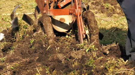 rolnik : Farmer preparing garden land with cultivator machine, new agricultural season on organic vegetable farm