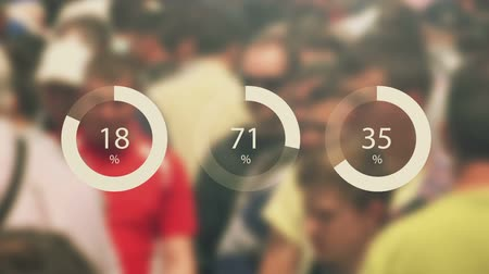 értékelés : General public infographics footage with blur crowd in background and statistical pie charts Stock mozgókép