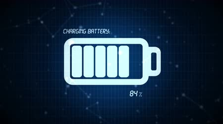 pil : Battery charge animation, abstract graphic visualization of mobile devices rechargeable batteries being charged.