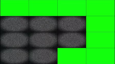 múltiplas : Television multi-screen video wall with green chroma key for tv broadcast background Vídeos