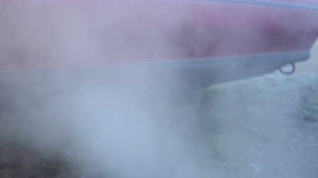 escape : Car exhaust pipe and smoke fume gases emission