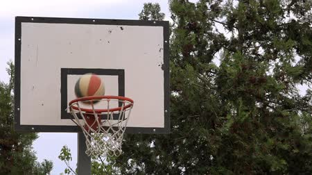 abroncs : Ball going through basket hoop in backyard amateur basketball court, handheld camera