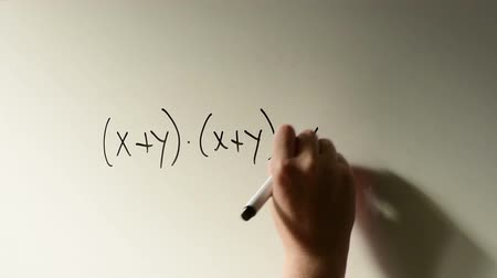 wykład : Polynomial function, math class in the school with teacher writing mathematical formula on white board Wideo
