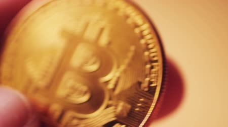 cryptocurrency : Bitcoin cryptocurrency close up with selective focus Stock Footage