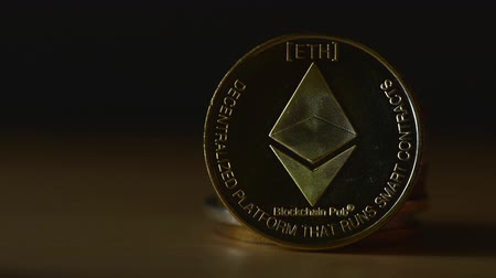 NOVI SAD, SERBIA - MARCH 16, 2018: Ethereum ETH cryptocurrency coin. Ethereum was proposed in late 2013 Wideo