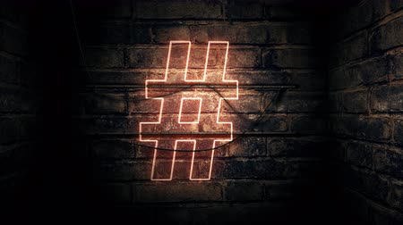 hashtag : Hashtag neon sign mounted on brick wall, 3d rendering animation