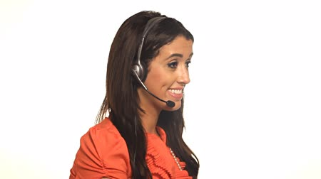 латина : Customer service worker woman helping on headset