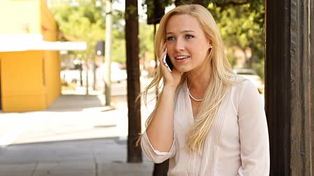 profi : Smiling young business woman talking on mobile phone