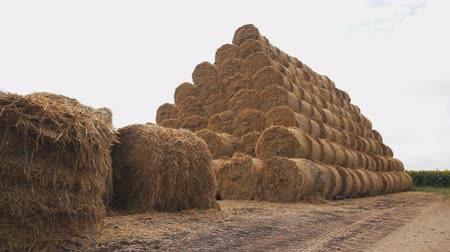 pyramid of bales of hay and straw against the cloudy sky background. camera tracking Dostupné videozáznamy